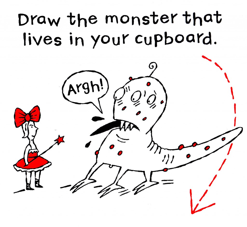 monster in cupboard