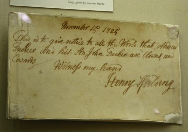 Henry Fielding's note